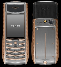 Vertu Knurled red gold, red gold keys, knurled black rubber