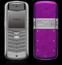 Vertu Constellation Polished stainless steel, amaranth ostrich skin
